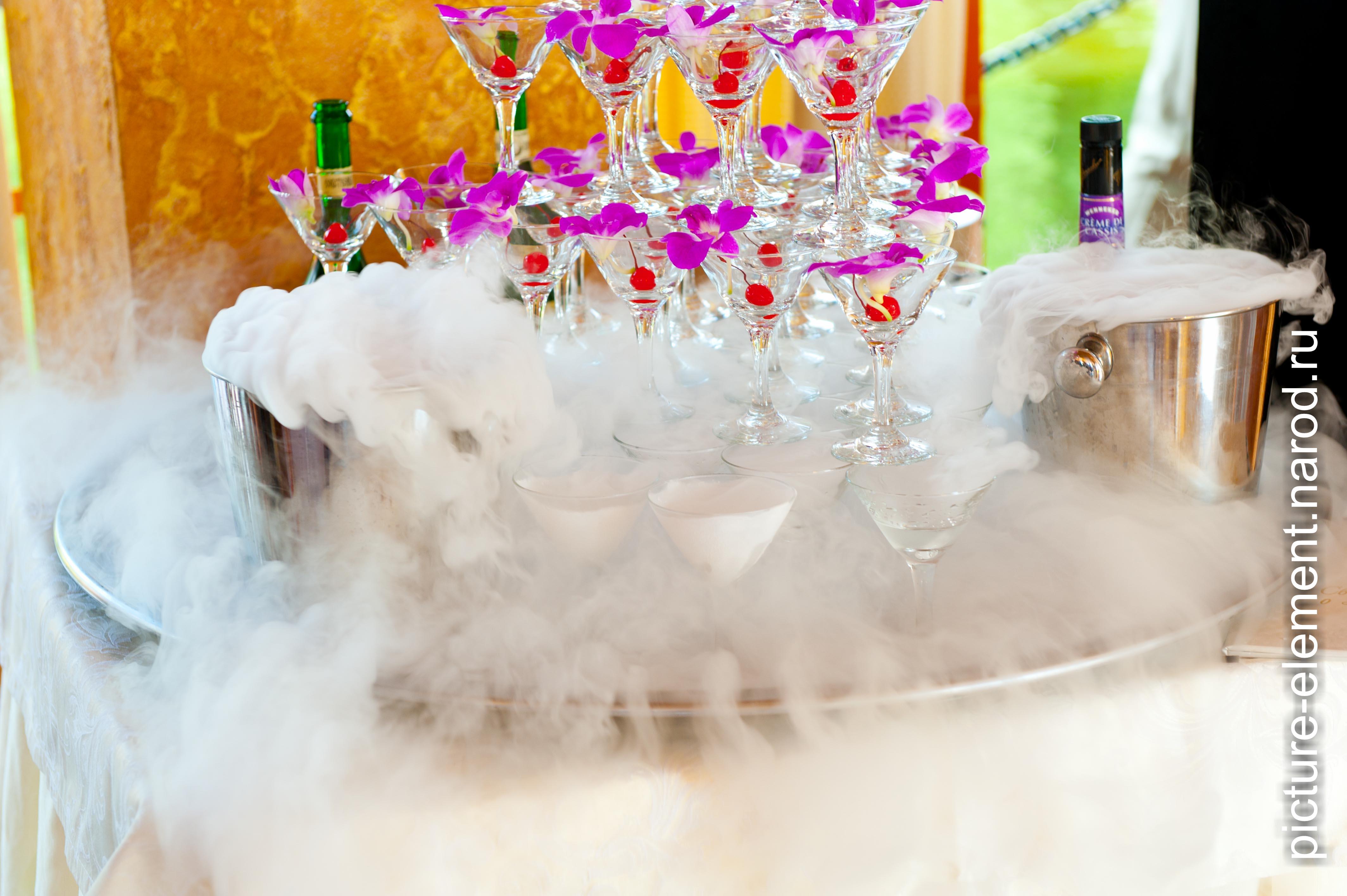 Как сделать дым в бокале с шампанским